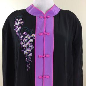 NWOT BOB MACKIE QVC Silk Oriental Button Shirt